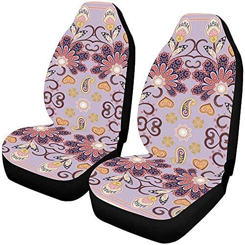 Auto Stoelhoezen Mooie Tafelkleed Etnische Indien Bloemen Mooie Vector Voertuig Seat Protector Auto Mat Covers