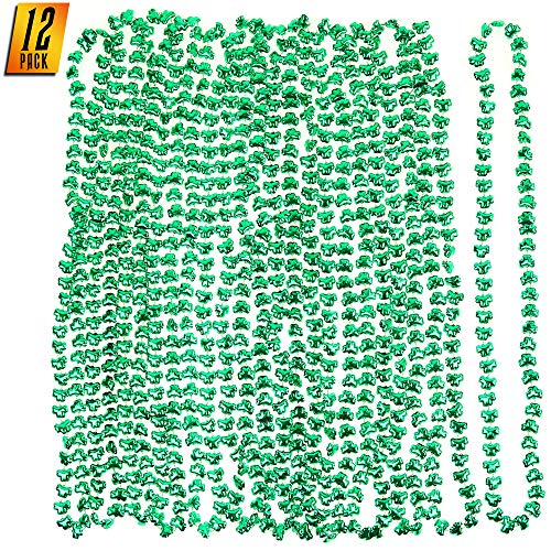 Skeleteen Green Shamrock Beads Necklaces - St Patricks Day Irish Clover Bead Necklace Party Favors Pack - 1 Dozen