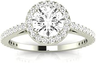 1.1 Carat GIA Certified 14K White Gold Halo Round Cut Diamond Engagement Ring (0.6 Ct F-G Color I1-I2 Clarity Center)