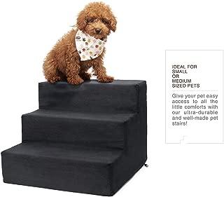 Delxo 高*泡沫 3 层宠物楼梯,舒适的微绒宠物阶梯,可机洗拉链可拆卸盖带防滑黑色圆点底荷 44 磅 黑色 3-Step