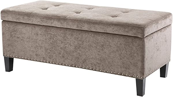 Madison Park FPF18 0197 Shandra II Storage Ottoman Solid Wood Polyester Fabric Toy Chest Modern Style Lift Top Accent Bench For Bedroom Furniture Medium Taupe