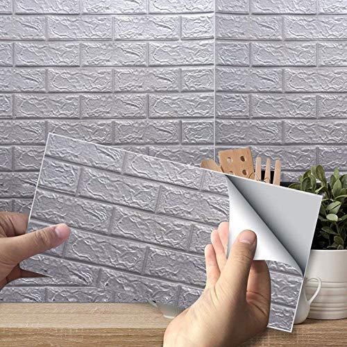 10PCS Papel Pintado, Papel Adhesivo Papel Pintado Ladrillo Vinilo 3D Efecto Ladrillo Impermeable, para Sala de Estar Habitación Cocina Comedor Fondo de TV, 35 x 38 cm(Gris)