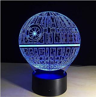 Illusion LED Night Light 3D Death Star Luces nocturnas Visualización óptica Illusion Lamp Star Wars DS-1 Platform 7 colores Change Touch Switch Lámpara de mesa