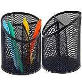 2 Pack Round Steel Mesh Pen Holder Pen Organizer for Desk, 3 Compartment Pencil Organizer Desktop Supplies Storage Container Desk Organizer for Office Home School, Black