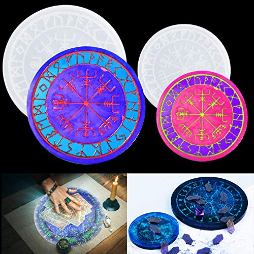 LaVenty 2 PCS Resin Mold Tarot Divination Mat Witch Resin Molds Constellation Compass Mat Silicone Mold