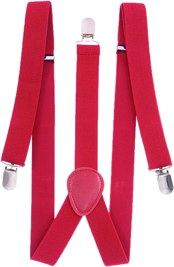 TENDYCOCO Elastic Y Suspenders with 3 Metal Clips for Men Women 2.5cm