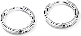 FANCIME Small Mens Hoop Earrings Huggie Cartilage Piercing Hip-hop Endless Circle Tiny Sleeper Hoop Earrings 14K أسود/أبيض...