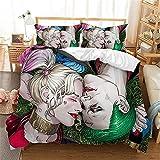 Printed Modern Comforter Cover Set 3 Pieces 3D Suicide Squad Harley Quinn Joker Cartoons 3D Bedding Sets Bedding 3 Piece Duvet Cover Set Queen 1 Duvet Cover + 2 Pillow Sham(NO Comforter)