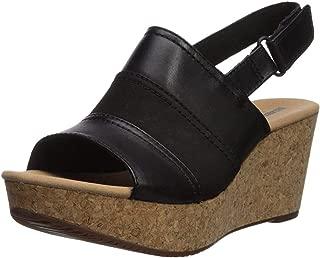 CLARKS Women's Annadel Janis Wedge Sandal, Black, 8 M