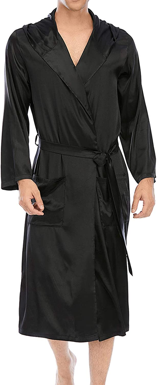 Lu's Chic Men's Long Sleeve Robe Hooded Bathrobe Thin Satin Bath Robes Knee Length Pocket House