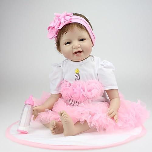 ventas en linea Leoboone 22 22 22 Pulgadas Sonrisa Cara renacida muñecas del bebé muñecas realistas Realista Bebe Reborn bebés niñas Juguetes con un Hermoso Vestido  ventas al por mayor