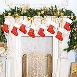 Qpout CalcetíN NavideñO, 8 Piezas Rojo Y Blanco PequeñO CalcetíN NavideñO con Bordado De Copo De Nieve Dorado para DecoracióN NavideñA Mini Medias Bolsa De Regalo para DecoracióN áRboles De Navidad