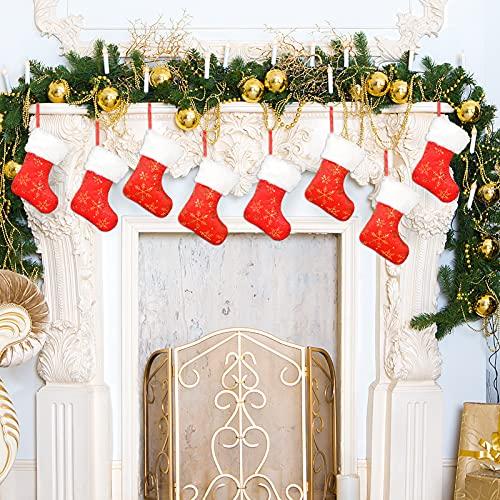 Qpout Calze Natalizie, 8 Pezzi Calze Natalizie Rosse e Bianche con Ricami Fiocchi di Neve Dorati per Decorazioni Natalizie Mini Calze da Appendere Sacchetto Regalo per Decorazioni Albero di Natale