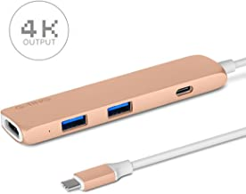 USB Type-C HUB Adapter, G-TING Slim Aluminum Multi-Port Type-C to 4K HDMI USB 3.0 with Type-C Charger Port Convertor for New MacBook Pro, Google Chromebook TV USB C Devices and more (Gold)