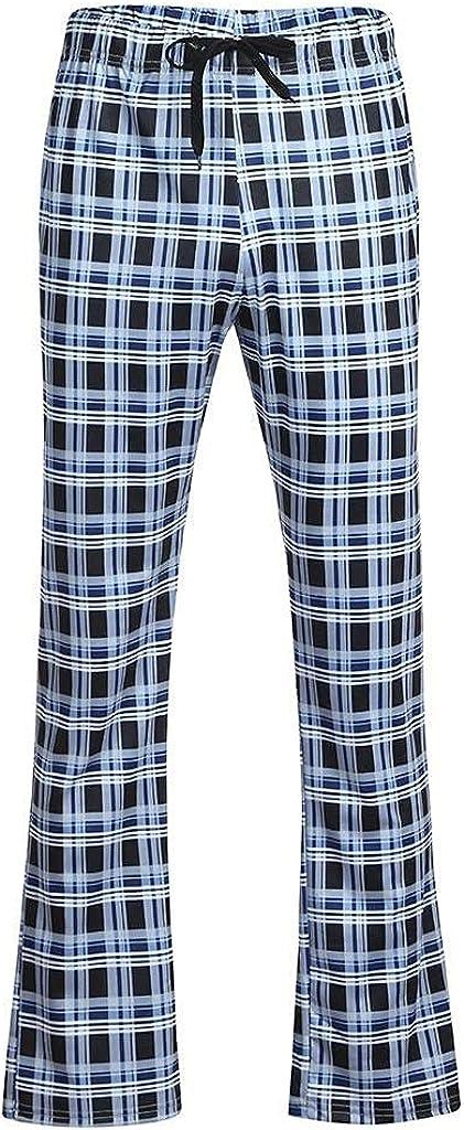 Kirbaez Mens Long Casual Elastic Waist Drawstring Loose Sports Pants Plaid Pajama Trousers