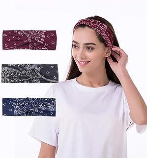 Adflyco Boho Flower Twist Headbands Set Yoga Criss Workout Hair Bands Stretch Fabric Head Wraps for Women and Girls (3PCS)