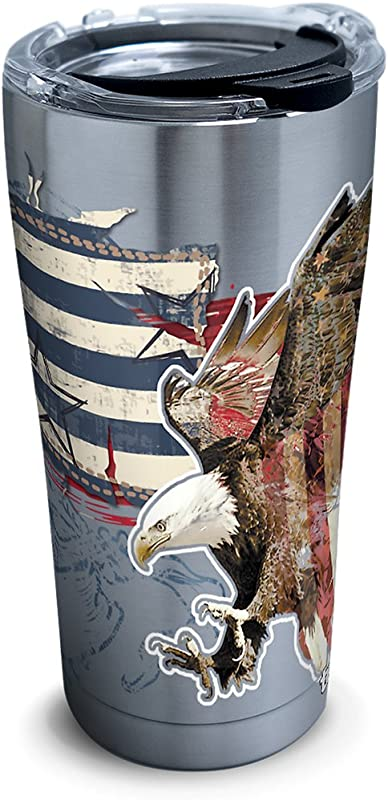 Tervis 1305035 Americana Distressed Flag Stainless Steel Insulated Tumbler With Clear And Black Hammer Lid 20oz Silver