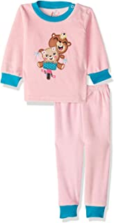 Jockey Front Embroidery Bears Long Sleeves Round Neck Sweatshirt with Pants Pajama Set for Girls