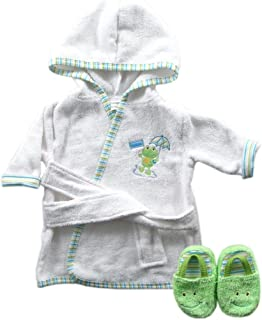 Luvable Friends Woven Terry Baby Bath Robe with Slippers, Green (Discontinued by Manufacturer)