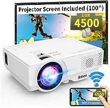 "WiFi Mini Projector, 2020 Latest Update 4500 Lux[100"" Projector Screen Included].."