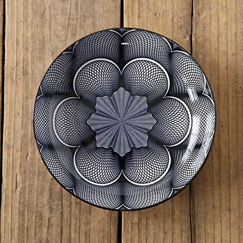 Color creativo impresión de vajilla de cerámica de cerámica para el hogar plato de comida profunda redonda (Color : 3)