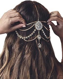 Aegenacess Gold Headband Hair Chain 1920 Indian Crystal Rhinestones Bohemian Accessories Headpieces Wedding Jewelry for Women and Girls