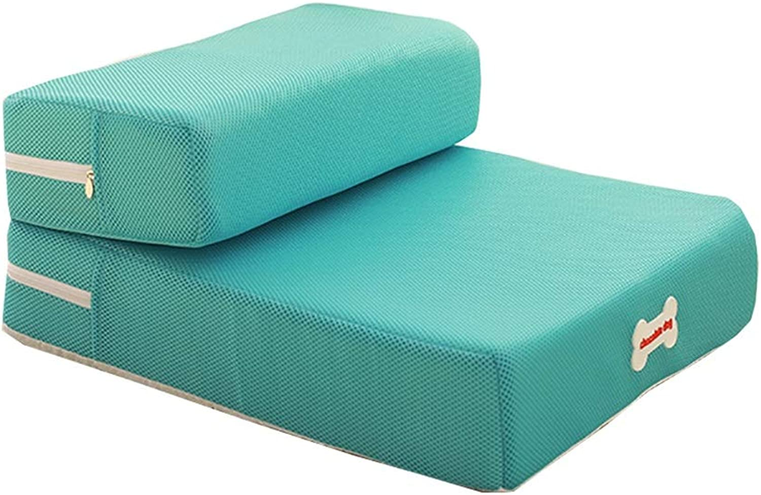 Pet Stairs Dog Stairs Cat Steps Foldable Dog Stairs For Small Dogs, 2 Step for Cats, Removable And Washable Comfort Cover (color   GREEN, Size   Set of 2)