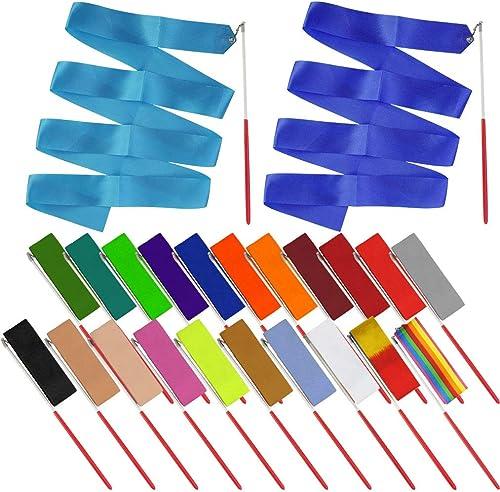 obmwang 22PCS Dance Silk Ribbon Wands 6.6ft Ribbon Streamers Gymnastics Rhythmic Artistic Twirling Ribbons Rods for K...