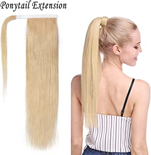 S-noilite 20 Inch Wrap Around Human Hair Ponytail Extensions for Women Clip in Remy Human Hair Ponytail Hairpiece Long Straight Silky #613 Bleach Blonde