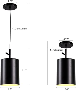 Homiforce Vintage Style 1 Light Black Cylinder Pendant Light with Metal Shade in Matte-Black Finish-Modern Industrial Edison Style Hanging for Kitchen Island cl2017080 Close to Ceiling (Faye Black)