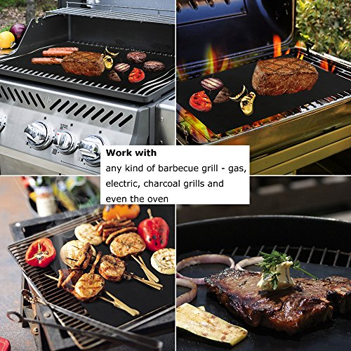 BEEWAY BBQ Grill Mat, Set of 5 Non Stick Barbecue Baking Mats for Charcoal, Gas or Electric Grill – Heat Resistant…