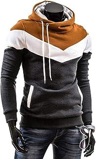 Starnearby Men Splicing Color Pullover Hoodies Spring Autumn Long Sleeve Sweatshirts