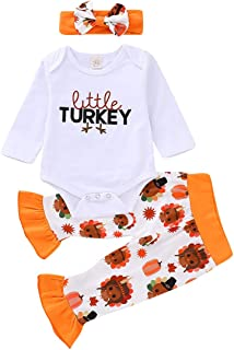 Baby Girls Pants Set Thanksgiving Long Sleeve Romper + Turkey Ruched Ruffle Pant Outfit + Headband