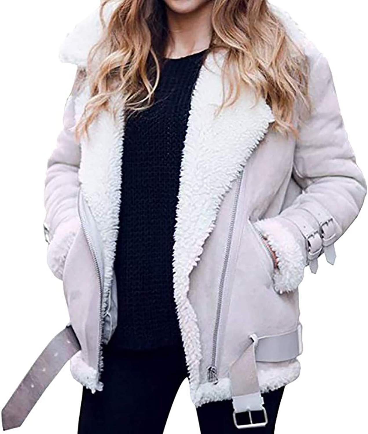 CHOiES record your inspired fashion Women's Faux Suede Shearling Laple Jacket Zipper Belted Suede Moto Coat Pockets