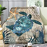 Anomadassi Sea Turtle Ocean Animal Print Retro Blanket,Flannel Throw Blanket Ultra Soft Micro Lightweight Flannel Blanket Bed Couch Living Room All-Season 40'x30' XSmall for Pets