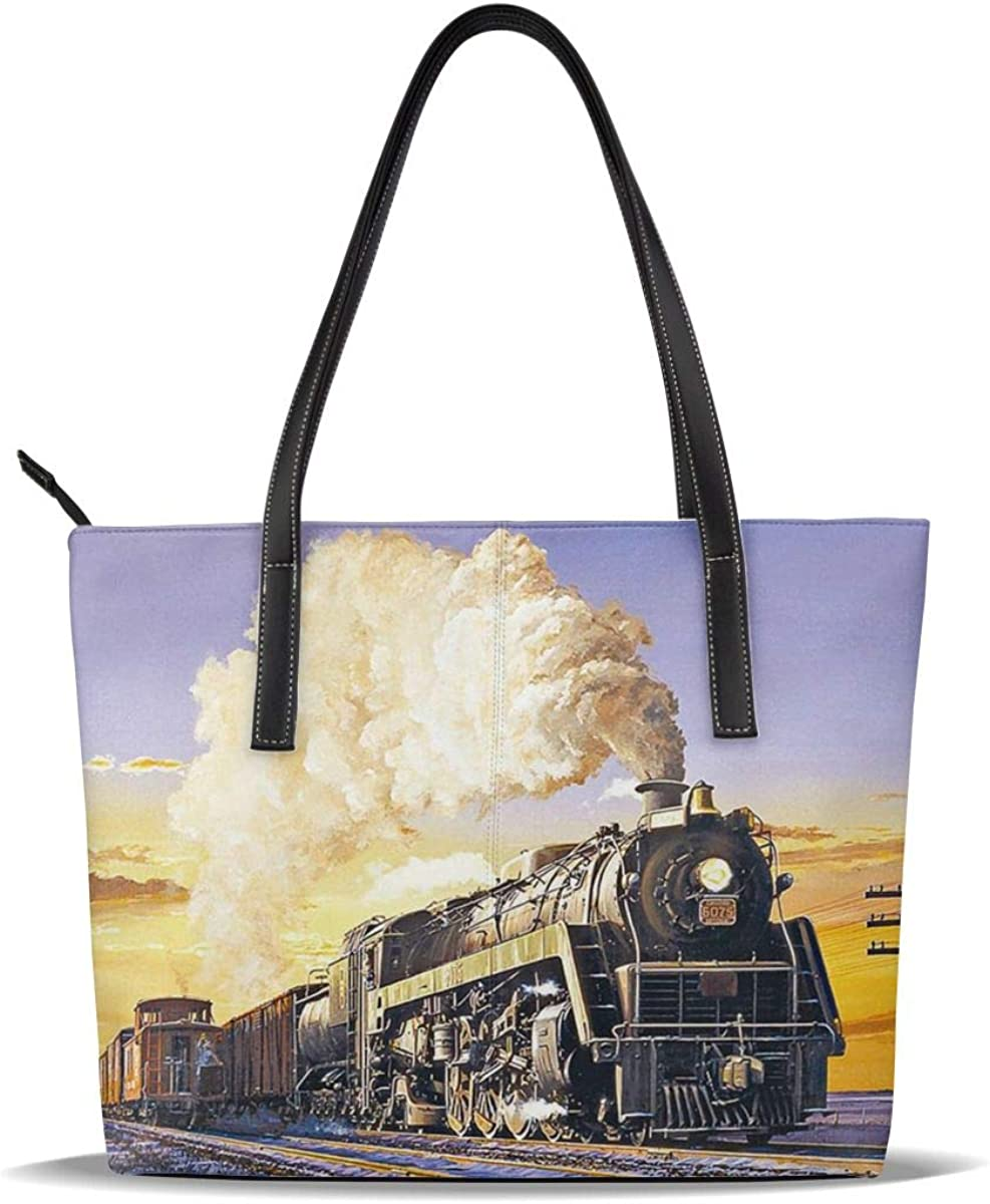 Gold Locomotive High material Popular popular Train Steam Art PU Printed Pattern Leather Casua