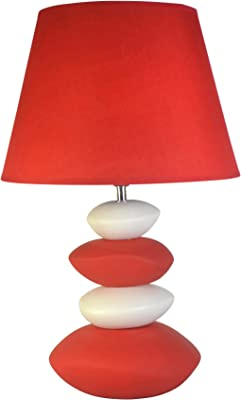 HOMEA 6LCE073RO LAMPE, CERAMIQUE, 40 W, ROUGE, L.30l.30H.47.5CM