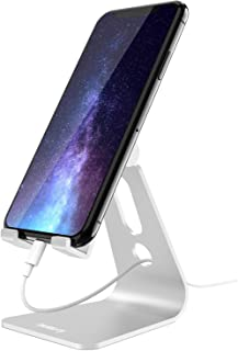 Nulaxy Adjustable Phone Stand, Multi-Angle Cell Phone Holder, Cradle, Dock, Stand Compatible with iPhone Xs/XR/XS Max/X 8 7 6 6s Plus 5 5s 5c, All Android Smartphones, Universal Phone Stand - Silver