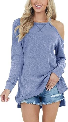 Dbtanjy Women's Long Sleeve Off The Shoulder Tops Casual Loose Side Split Blouse