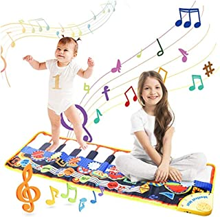 Musical Piano Mat, 19 Keys Piano Keyboard Play Mat Children Foot Touch Play Portable Musical Blanket Build-in Speaker & Recording Function for Kids Toddler Girls Boys 43.3'' X14.2''