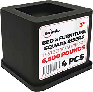 iPrimio Bed and Furniture Square Risers - 3 INCH Rise Size - Wont Crack & Scratch Floors - Heavy Duty Rubber Bottom - Patent Pending - Great for Wood and Carpet Surface (Black, 4)