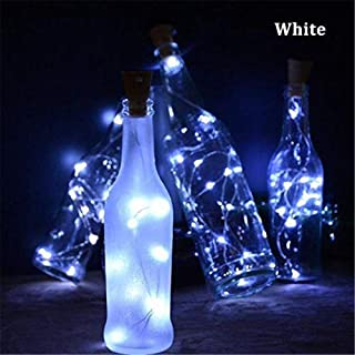 Alilyol 20 LED Silver Wire String Lights 2M Holiday Lighting Battery Included Cork Shaped Wine Bottle Stopper for Christmas Tree Wedding Party Decoration DIY-Cool White