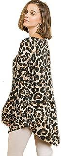 Umgee Animal Print Top! Long Sleeve Knit Asymmetrical Hem
