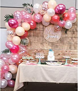 Topllon Latex Balloons Confetti Balloons Pink 12 Inch 61 PCS Matte Pink Blush Balloons Arch Kit for Baby Shower Princess Birthday Party Decorations Wedding Supplies - 8 Colors