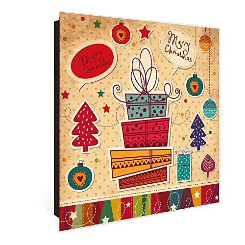 banjado Großer Schlüsselkasten aus Glas | Schlüsselbox mit 50 Haken | beschreibbare Glastür Scharnier Rechts | als Magnettafel nutzbar | Schlüsselaufbewahrung 30cm x 30cm | Motiv Fröhliche Weihnachten