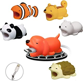 YOMYM Cable Bite, 6 pcs USB Cable Protector Cable Protector Animal Charge Cables Phone Accessory Animal Design Universal Electronics Accessories for Phone/Apple/iPhone/iPad (6 Pcs)