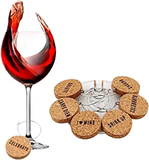 6Pcs Ring Cork Wine Glass Charms,Wohouse Unique Drink Markers Cocktail Champagne Buckle Tags for Parties Holidays Gift (Letter)