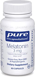 Pure Encapsulations - Melatonin 3 mg - Hypoallergenic Supplement Supports The Body's Natural Sleep Cycle - 60 Capsules