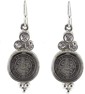 San Benito Lucia Earrings in Silver with Clear Crystals