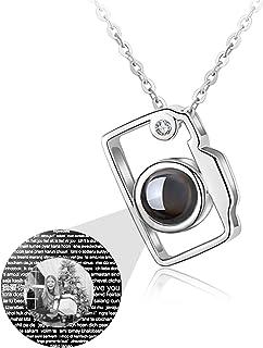 100 Lingue Diverse Ti Amo Collana Collana con proiezione Collana con Foto Personalizzata Collana con Pendente per Fotocamera